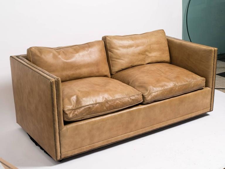 Leather nailhead cube settee for sale at 1stdibs for Settees for sale