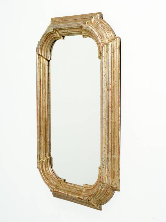 Italian Thick Framed Wood Mirror In Silver Leaf Finish
