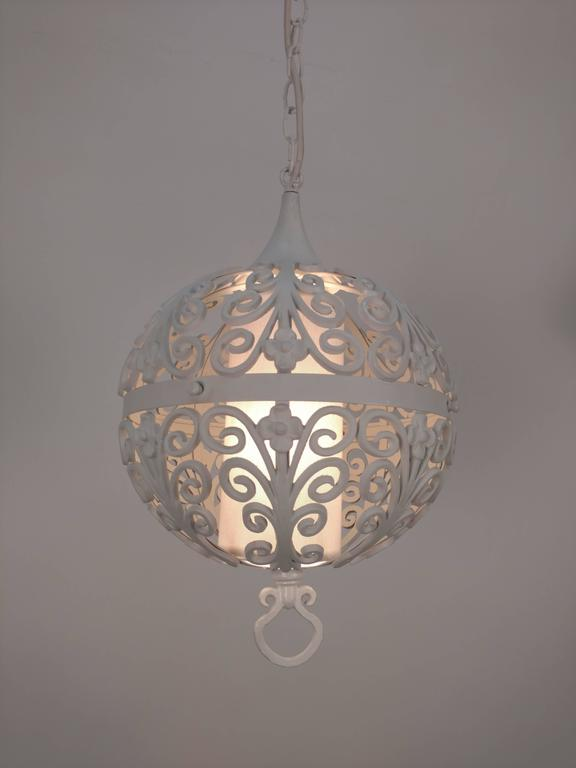 20th Century White Round Ornate Chandelier Pendant For Sale