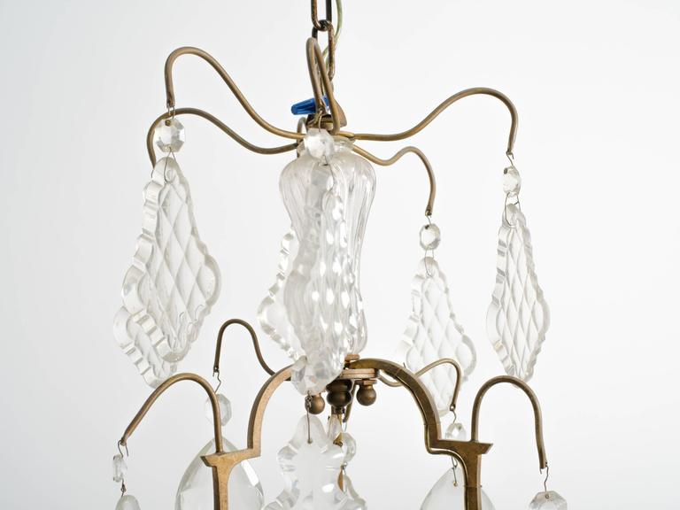 Crystal and bronze 1950s, French chandelier from a Hamptons estate.
