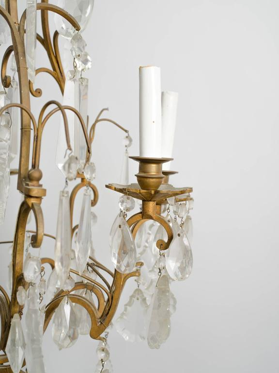 Crystal and Bronze French Chandelier In Good Condition For Sale In Tarrytown, NY