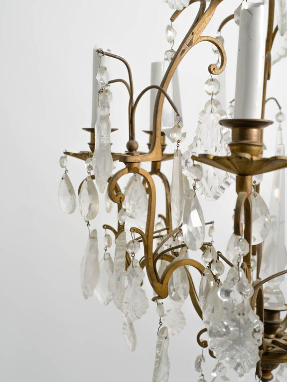 Mid-20th Century Crystal and Bronze French Chandelier For Sale