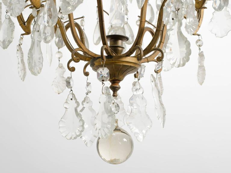 Crystal and Bronze French Chandelier For Sale 2