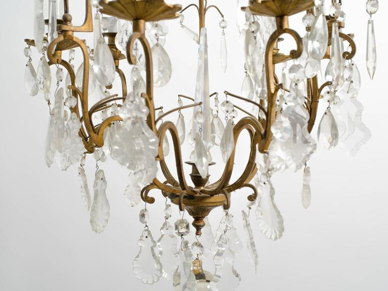 Crystal and Bronze French Chandelier For Sale 1
