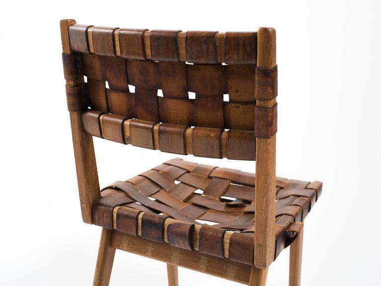 Four Mel Smilow Leather Strap And Walnut Chairs For Sale