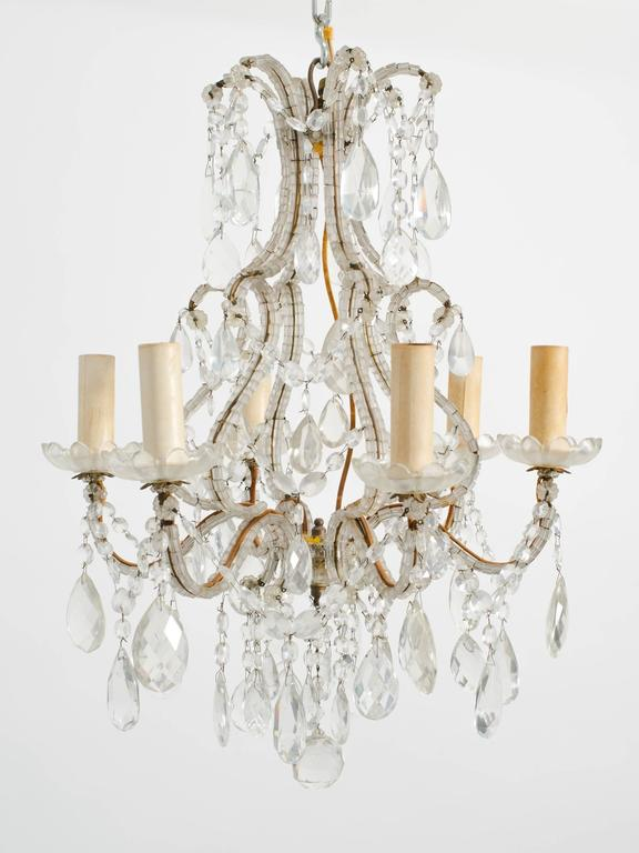 Elegant French beaded chandelier from a Scarsdale NY mansion.