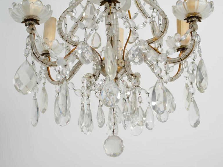 1950s Beaded French Six-Arm Chandelier In Good Condition For Sale In Tarrytown, NY