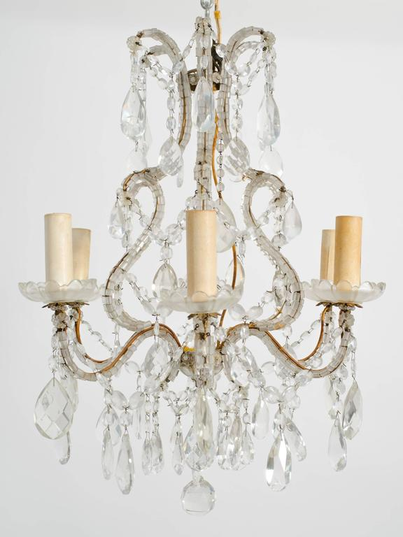 1950s Beaded French Six-Arm Chandelier For Sale 2