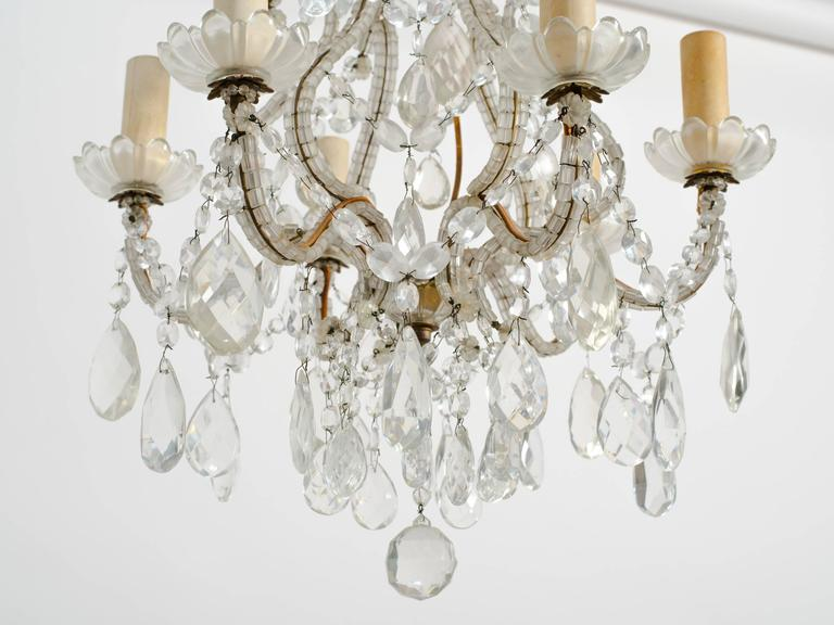 Mid-20th Century 1950s Beaded French Six-Arm Chandelier For Sale