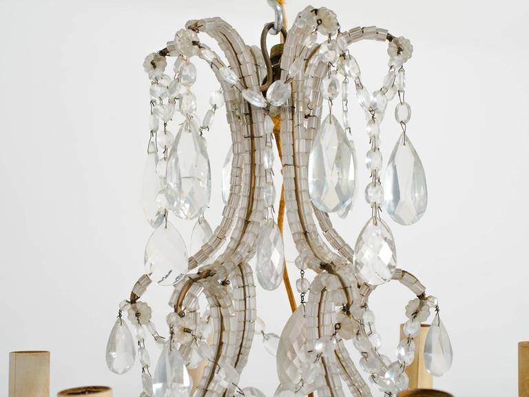 1950s Beaded French Six-Arm Chandelier For Sale 1