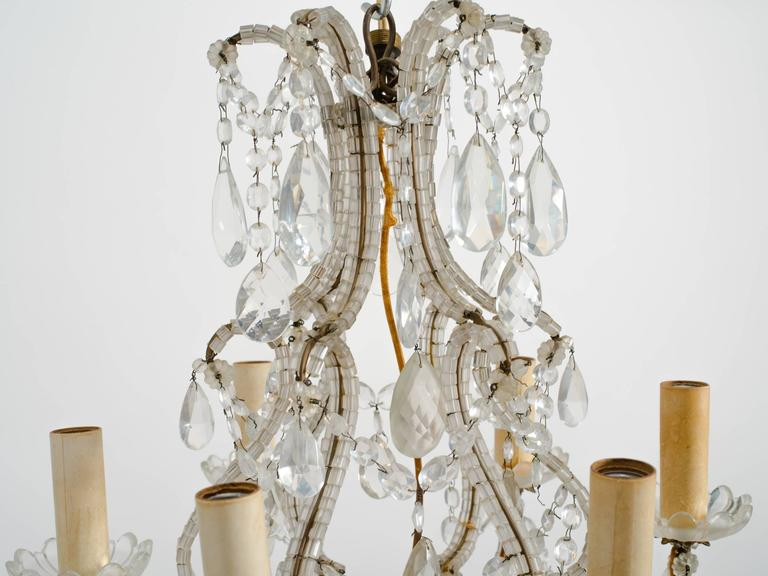 1950s Beaded French Six-Arm Chandelier For Sale 3