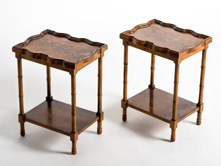 Pair Of Small Faux Bamboo Wood Side Tables For Sale At 1stdibs