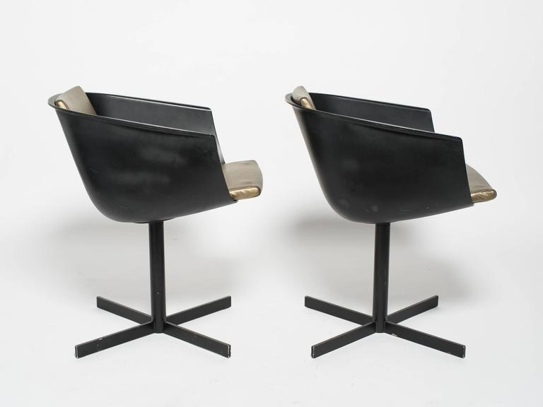Pair Of 1980s Poliform Strip Swivel Chairs By Carlo