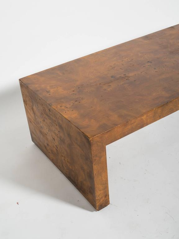 1970s Wood Furniture ~ S burled wood parsons coffee table for sale at stdibs