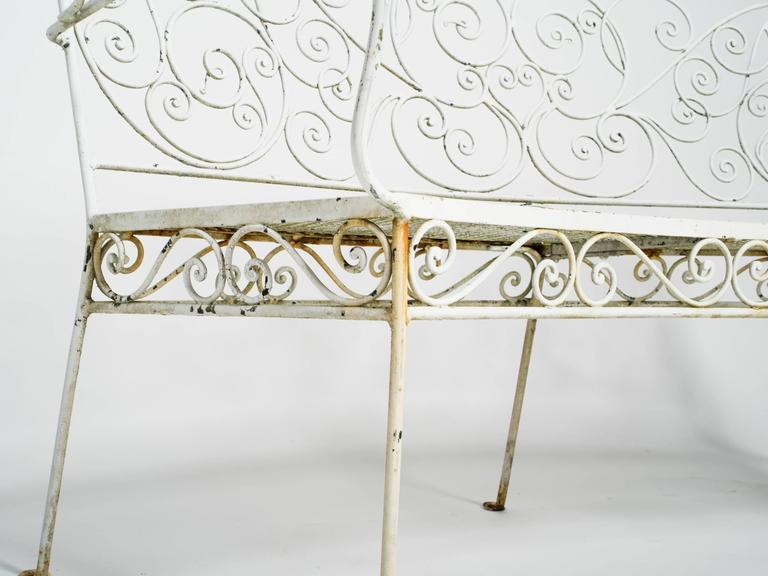 Mid-20th Century 1950s Curved Iron Garden Bench For Sale