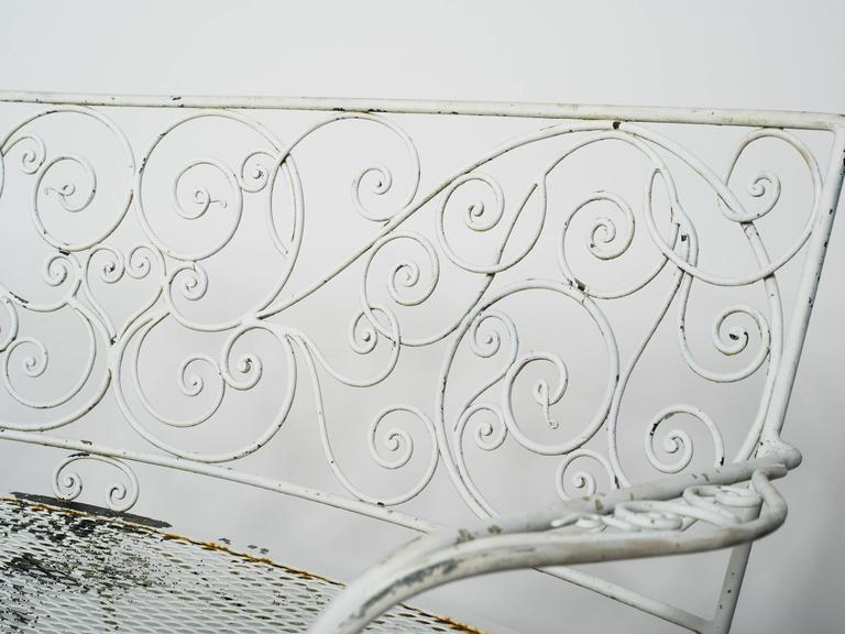 1950s Curved Iron Garden Bench For Sale 1