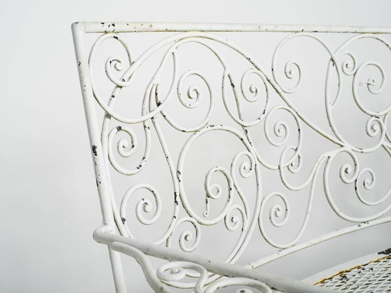 1950s Curved Iron Garden Bench For Sale 6