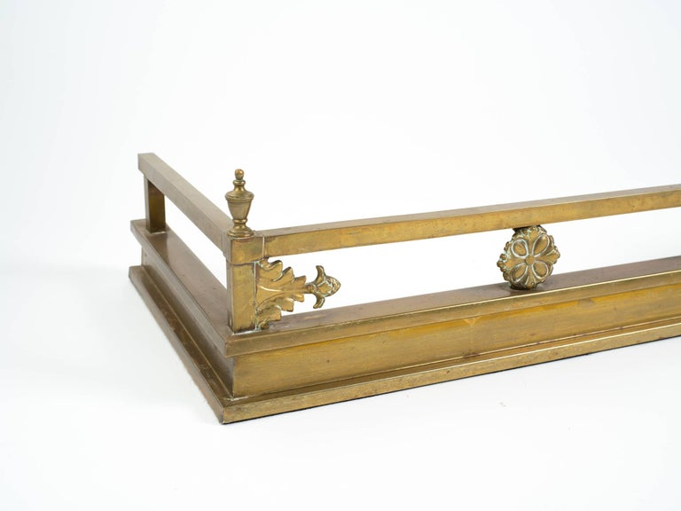 English Brass Pagoda Fireplace Fender For Sale 2