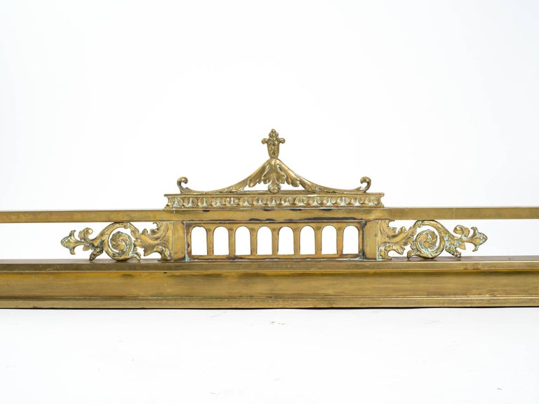 English Brass Pagoda Fireplace Fender For Sale 4