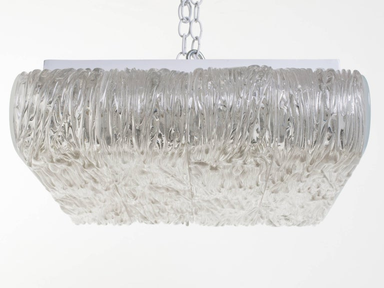 Italian Textured Glass Flush Mount Fixture For Sale 1