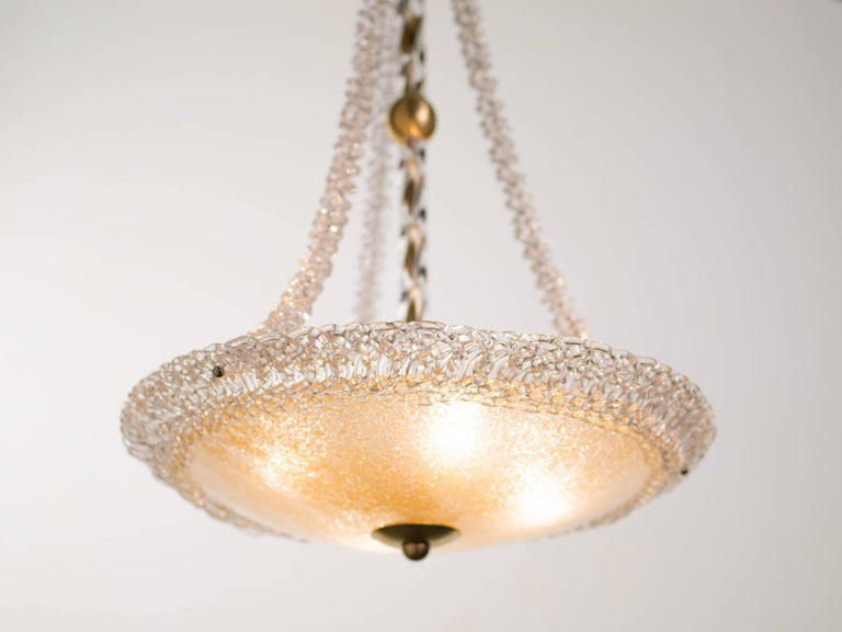 Brass Murano Glass and Swarovski Crystal Chandelier For Sale