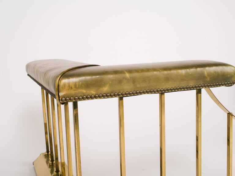 1880s English Brass And Leather Fire Place Fender Bench At