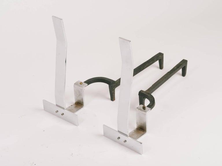 1960s flat bar steel andirons.