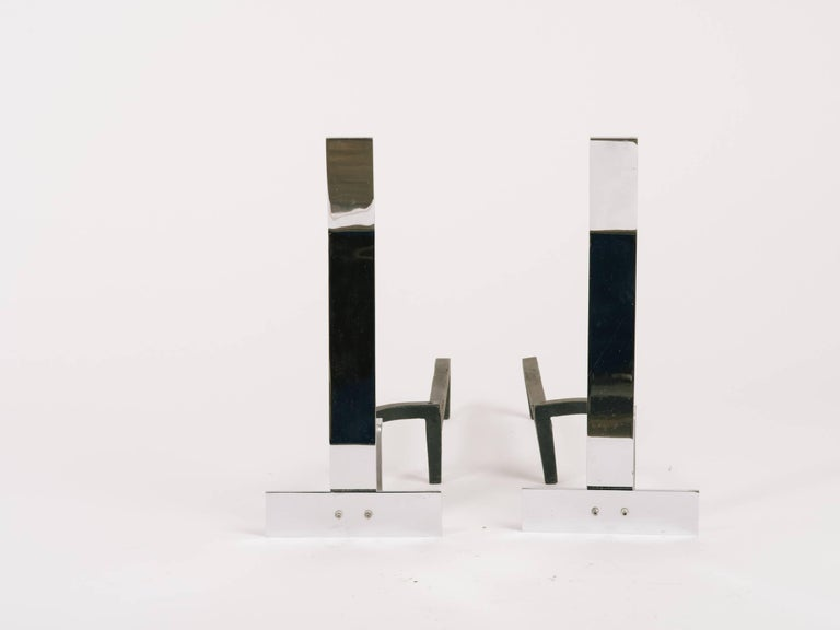 1960s Minimalist Flat Bar Steel Andirons In Good Condition For Sale In Tarrytown, NY