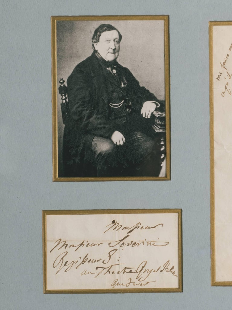 Rossini Signed Letter In Good Condition For Sale In Tarrytown, NY