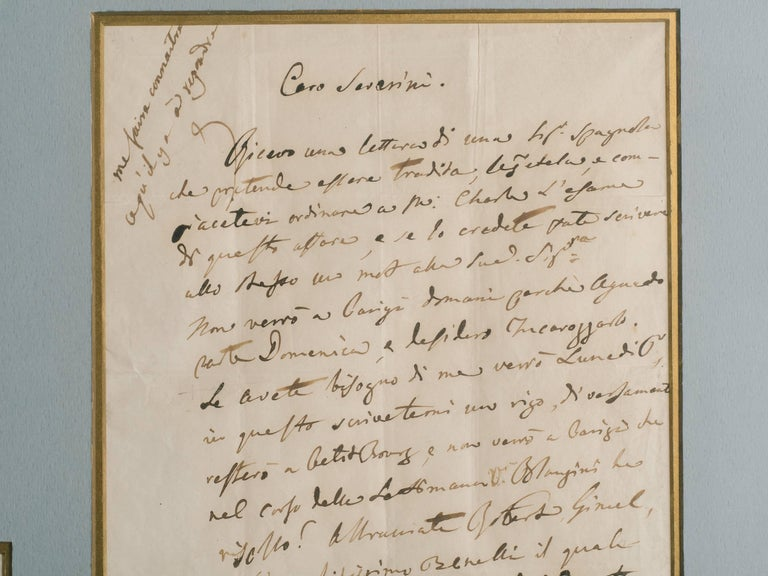 Mid-19th Century Rossini Signed Letter For Sale