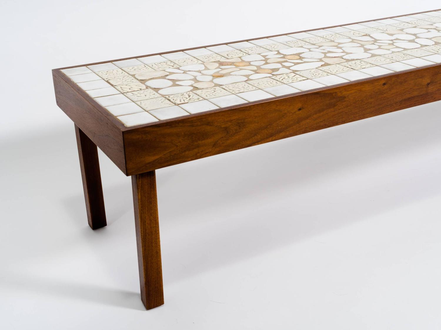 Extra long walnut and ceramic tile coffee table at 1stdibs for Long coffee table