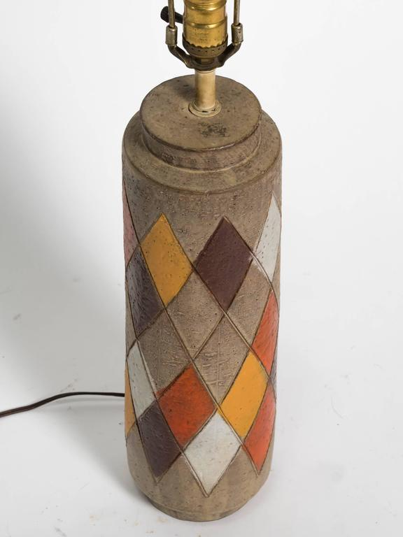 Mid-20th Century Pair of Bitossi Italian Ceramic Harlequin Lamps For Sale