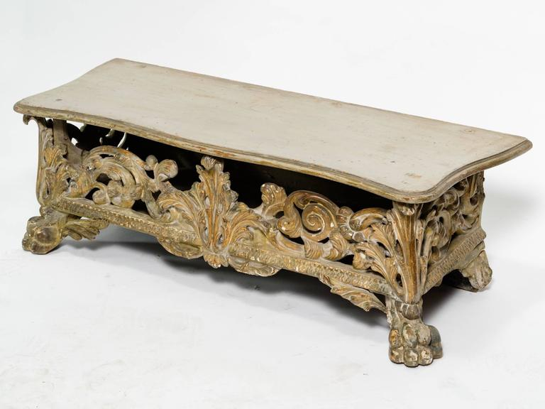 Highly carved wooden bench, circa 1820s