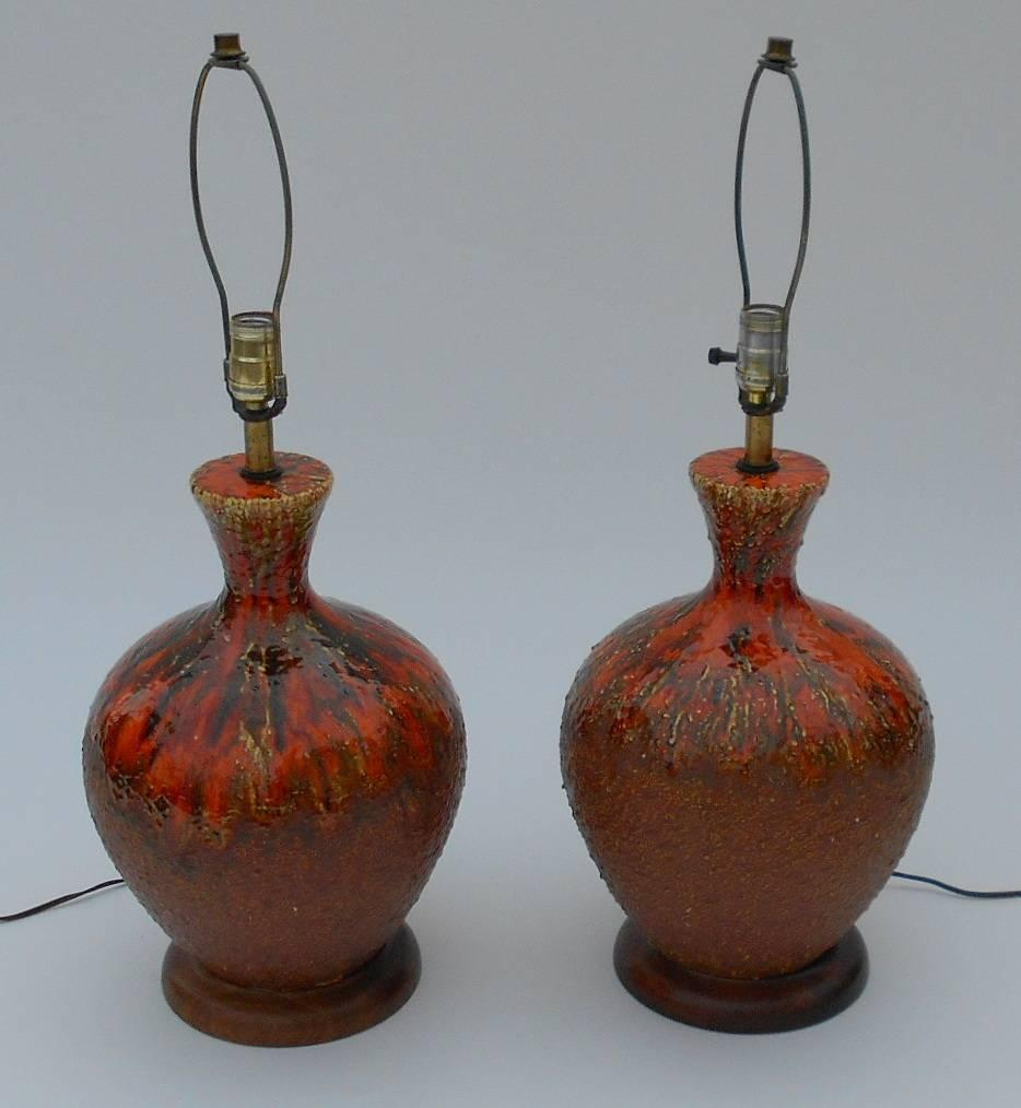 pair of ceramic red drip glaze table lamps for sale at 1stdibs. Black Bedroom Furniture Sets. Home Design Ideas