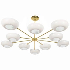 Stilnovo Style White Enameled Sputnik Chandelier