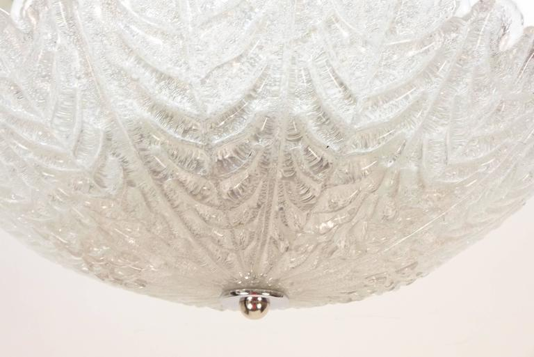 Textured Glass Flush Mount Fixture In Excellent Condition For Sale In Tarrytown, NY