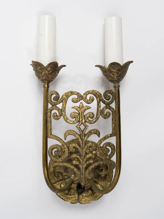 Wall Sconces Gothic : 3 Gothic Brass Wall Sconces For Sale at 1stdibs