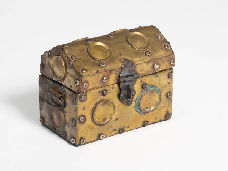 Arts & Crafts era studded brass box.