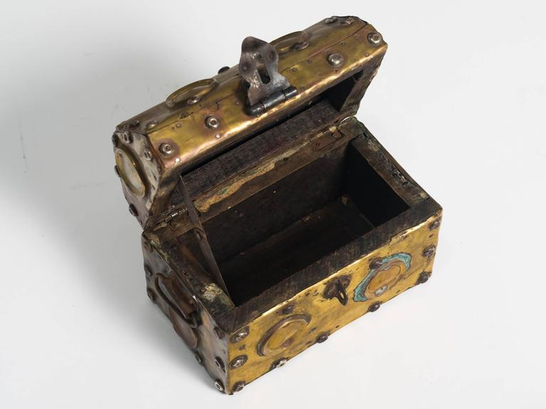 Early 20th Century Arts & Crafts Studded Brass Box For Sale