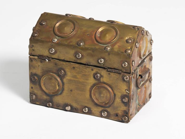 Arts & Crafts Studded Brass Box For Sale 1