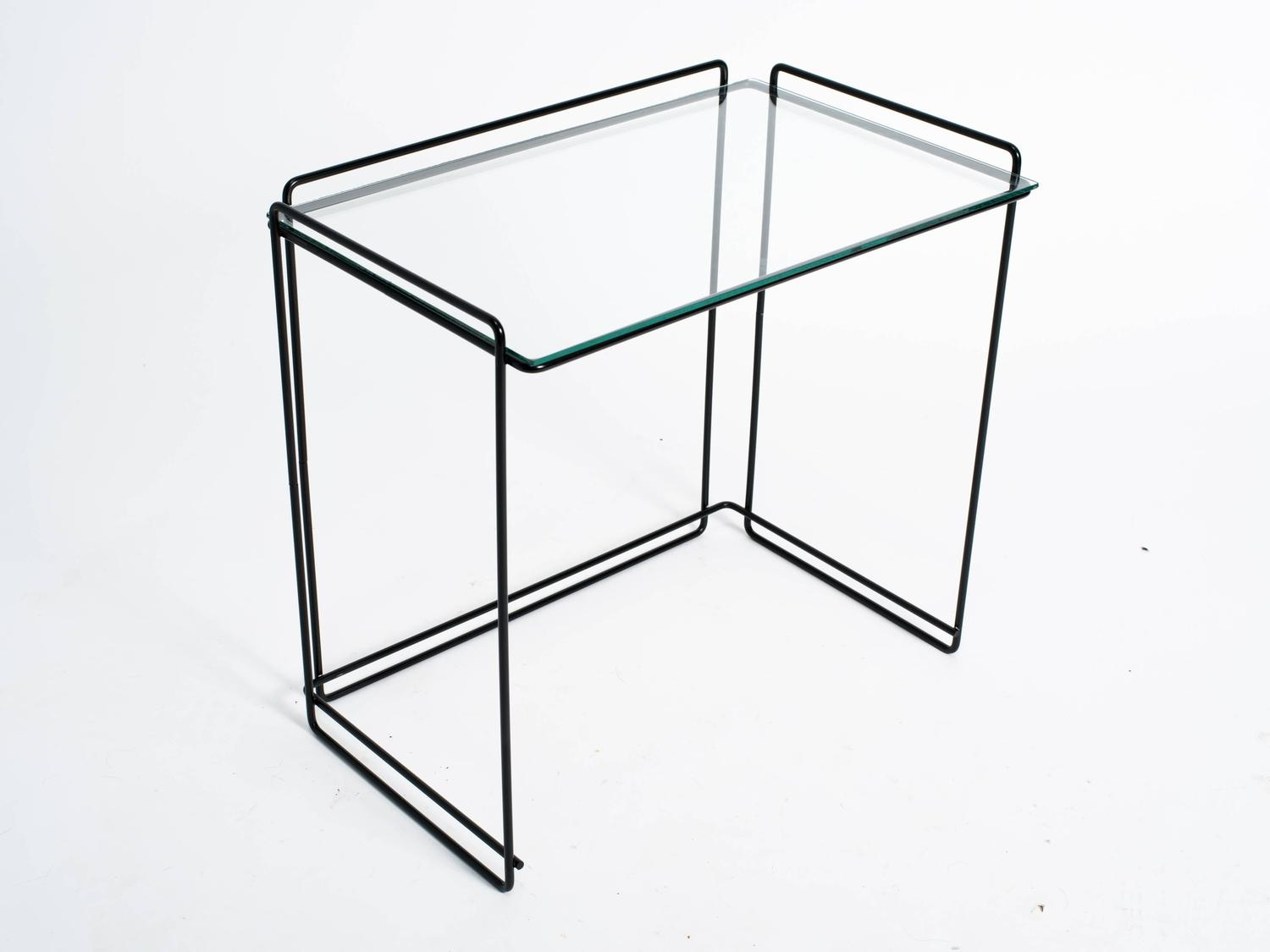 Set of three metal and glass nesting tables by max sauze