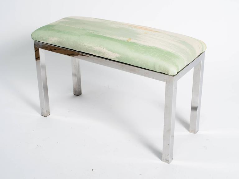 Mid-Century Modern Mid-Century Chrome and Upholstered Bench For Sale