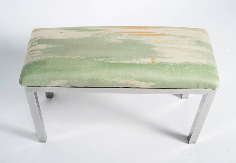 Mid-Century Chrome and Upholstered Bench In Good Condition For Sale In Tarrytown, NY