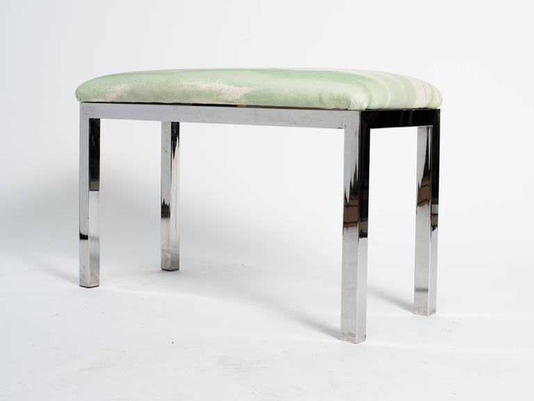 Late 20th Century Mid-Century Chrome and Upholstered Bench For Sale
