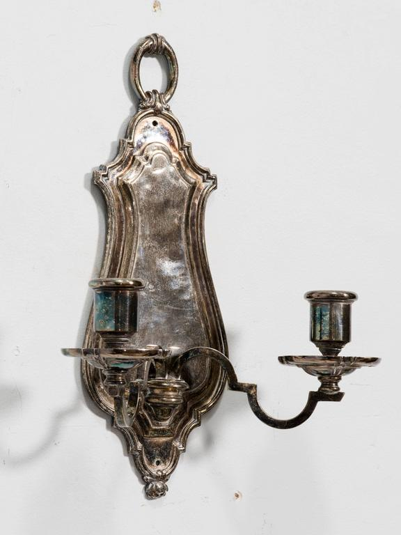 Pair of Silver plated Wall Sconces by E.F. Caldwell 2
