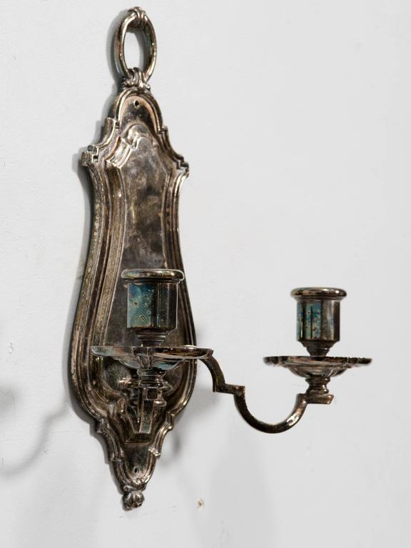 Pair of Silver plated Wall Sconces by E.F. Caldwell 3