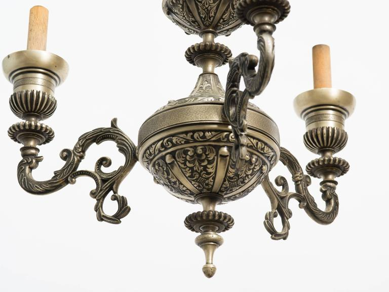 French Style Three-Arm Silver Plate Chandelier In Good Condition For Sale In Tarrytown, NY