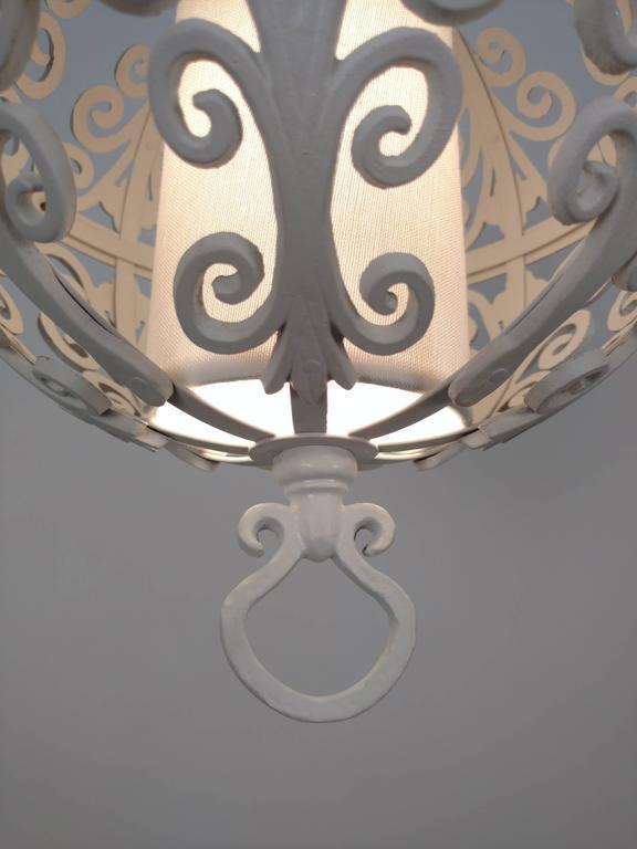 Aluminum White Round Ornate Chandelier Pendant For Sale