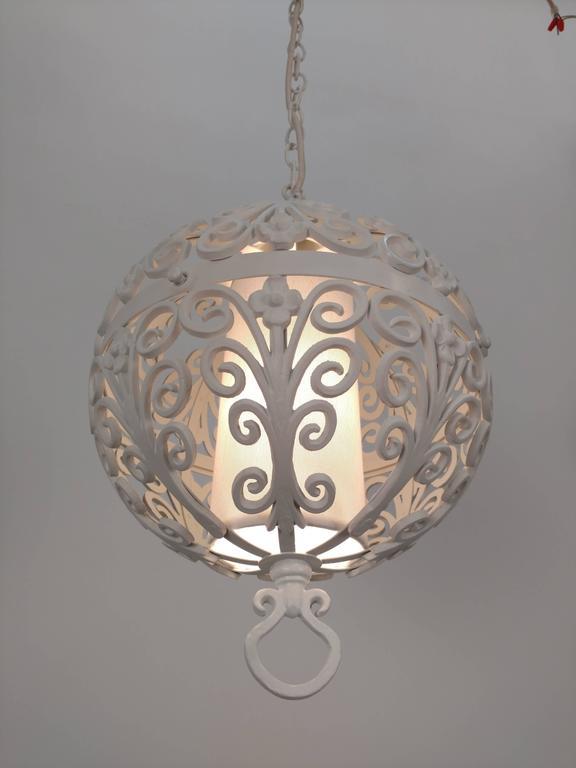 White Round Ornate Chandelier Pendant For Sale 2