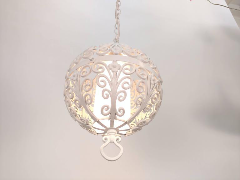 Cast White Round Ornate Chandelier Pendant For Sale